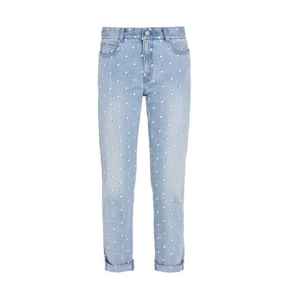 Skinny Boyfriend-Jeans mit weißen Sternen