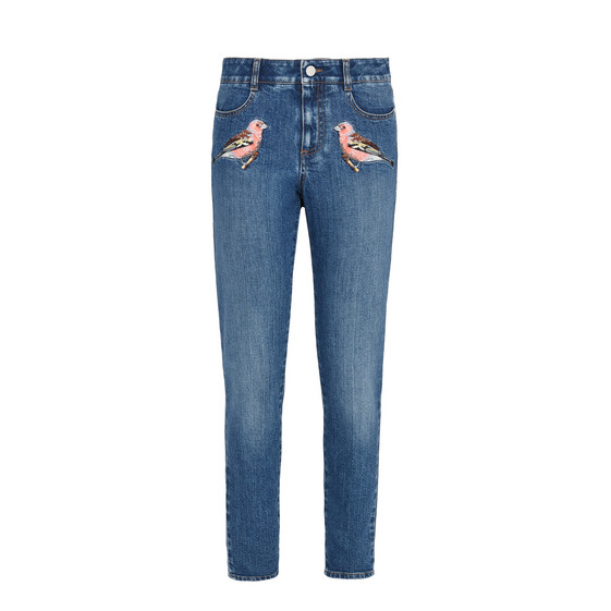 High Waist Skinny Bird embroidered Jeans