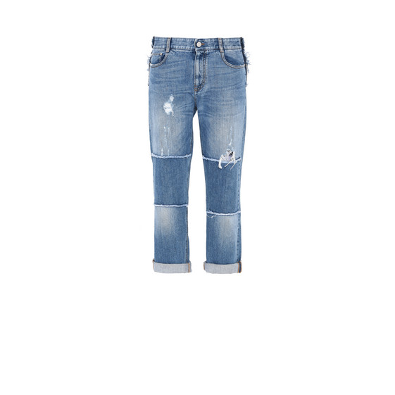 Straight Leg Patch Jeans