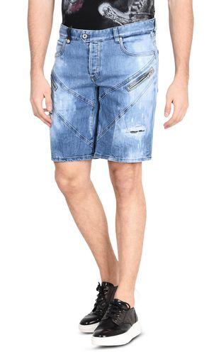 Shorts denim chiaro con zip