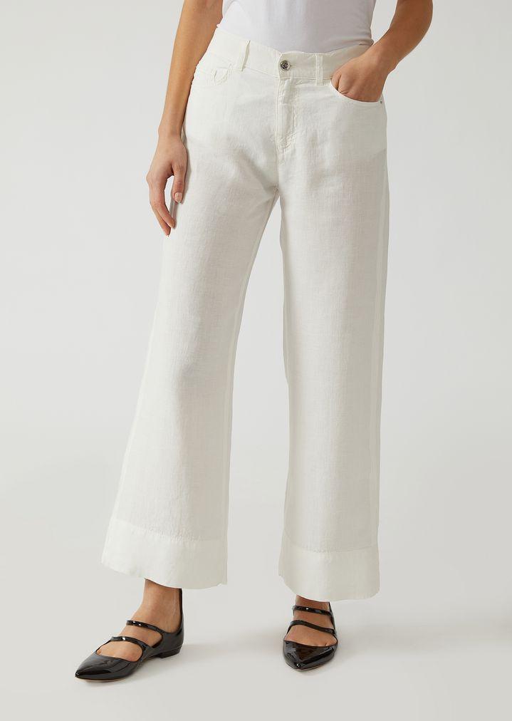 2f64fdc09d Palazzo pants in linen | Woman | Emporio Armani