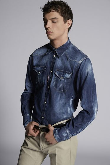 DSQUARED2 Denim shirt Man S74DM0144S30341470 m