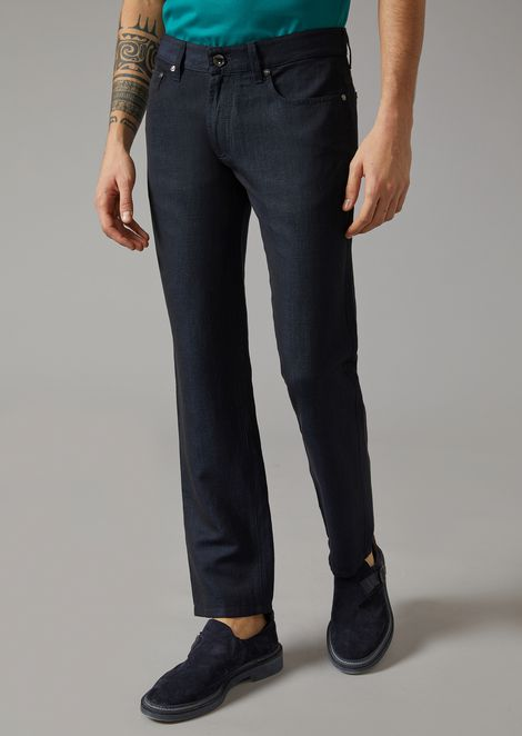 Slim fit jeans in wool, linen and silk