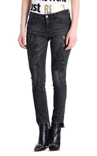 5-pocket jeans with irregular hem