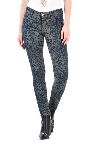 Slim leopard-effect 5-pocket jeans