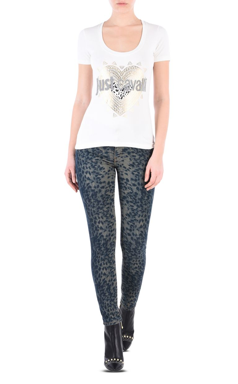 JUST CAVALLI Slim leopard-effect 5-pocket jeans Jeans Woman r