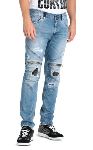Regular jeans with zip and studs