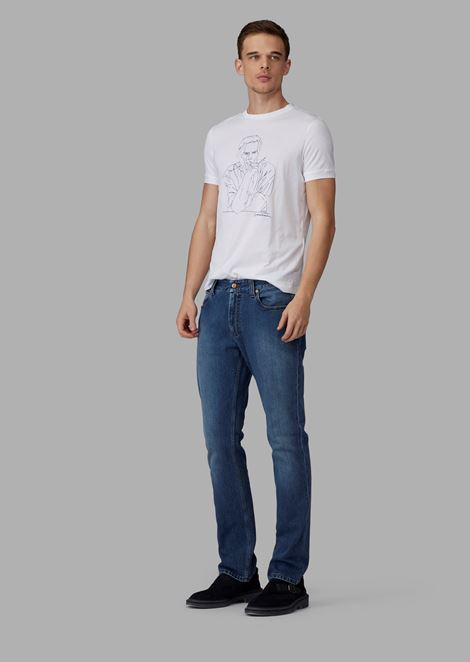 Regular-fit garment-washed resin slub Japanese denim jeans