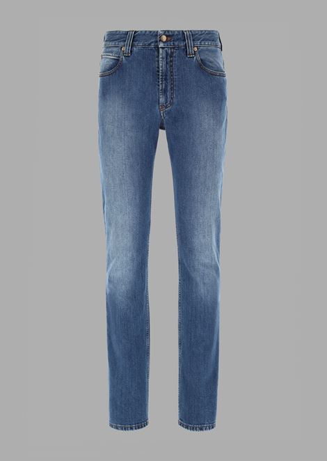 Regular-fit garment-washed resin slub Japanese denim jeans