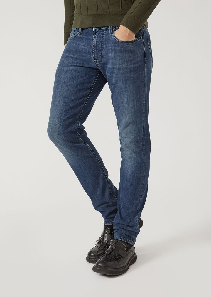 11afddaf2a66 J06 slim fit stone-washed denim jeans   Man   Emporio Armani