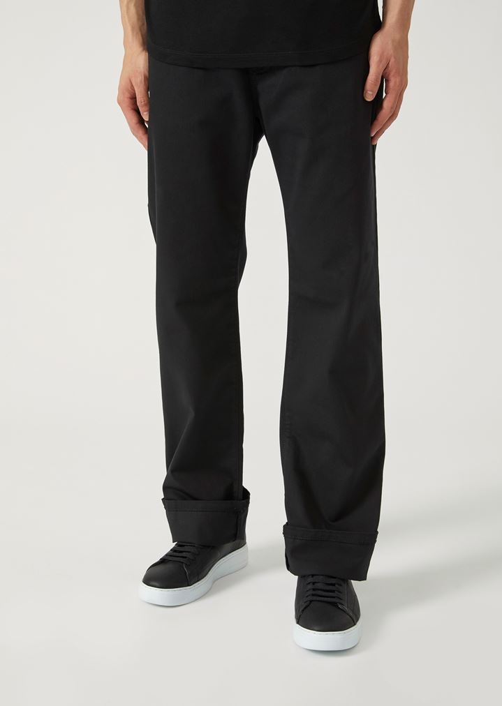 5d6461454f Regular fit trousers in stretch cotton gabardine