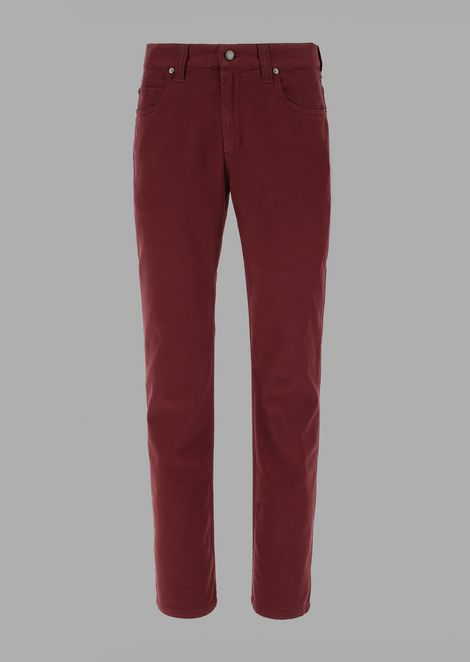 Regular-fit garment-dyed emerised tricotine jeans