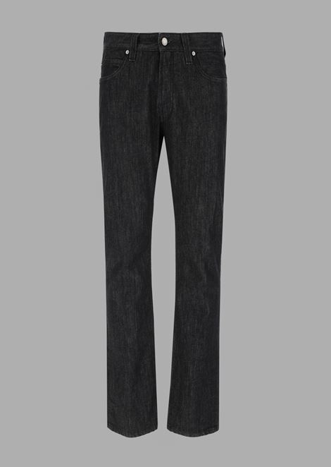 Regular-fit stretch slub denim jeans