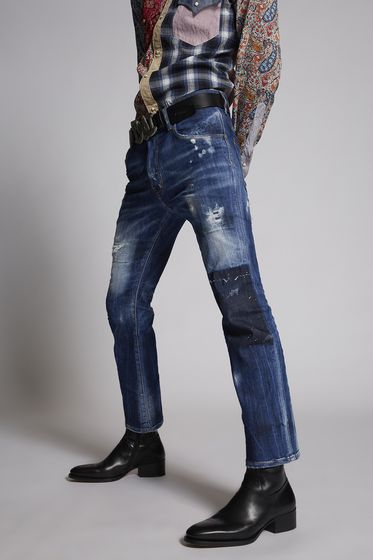 DSQUARED2 Light Worked Slash Cropped Flare Jeans 5 pockets Man