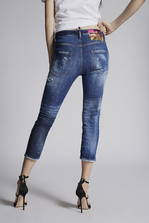 DSQUARED2 Acid Green Spots Cool Girl Cropped Jeans 5 pockets Woman