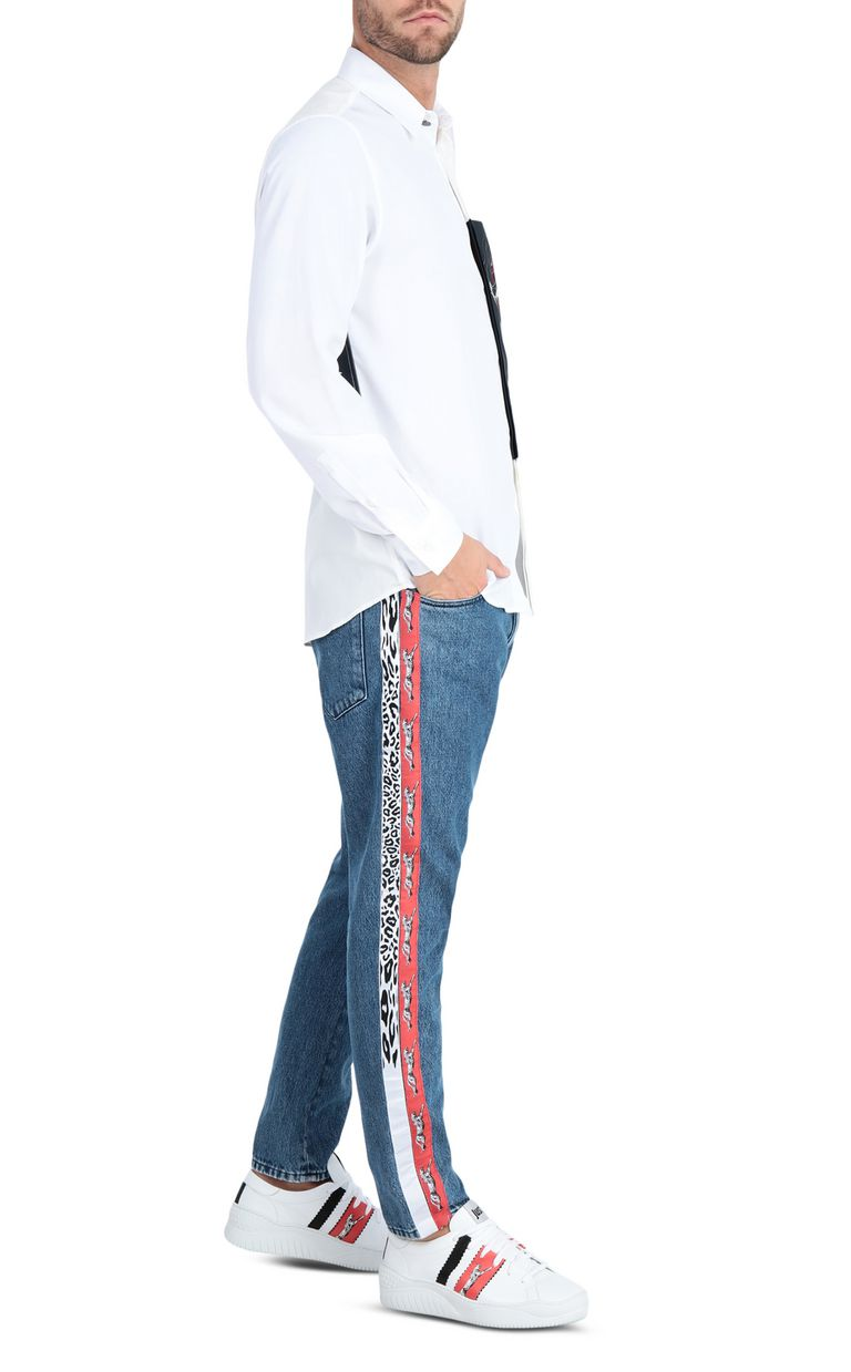 JUST CAVALLI Boy-fit jeans with a leopard band Jeans Man d