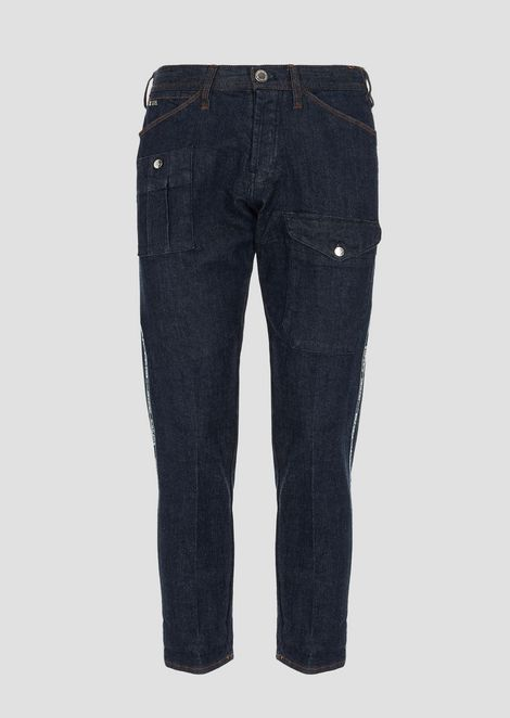 Stretch cotton J80 jeans with cargo pockets and selvedge logo