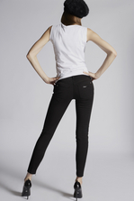 DSQUARED2 Stretch Bull Garment Dyed High Waist Cropped Twiggy Jeans 5 pockets Woman