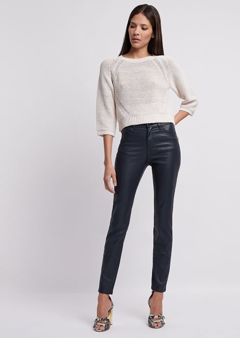 Super skinny J20 jeans in coated gabardine