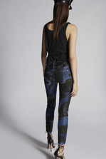 DSQUARED2 Camo Runway Straight Cropped Jeans 5 pockets Woman