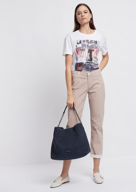 Boyfriend J15 stretch gabardine jeans with watercolour-effect print