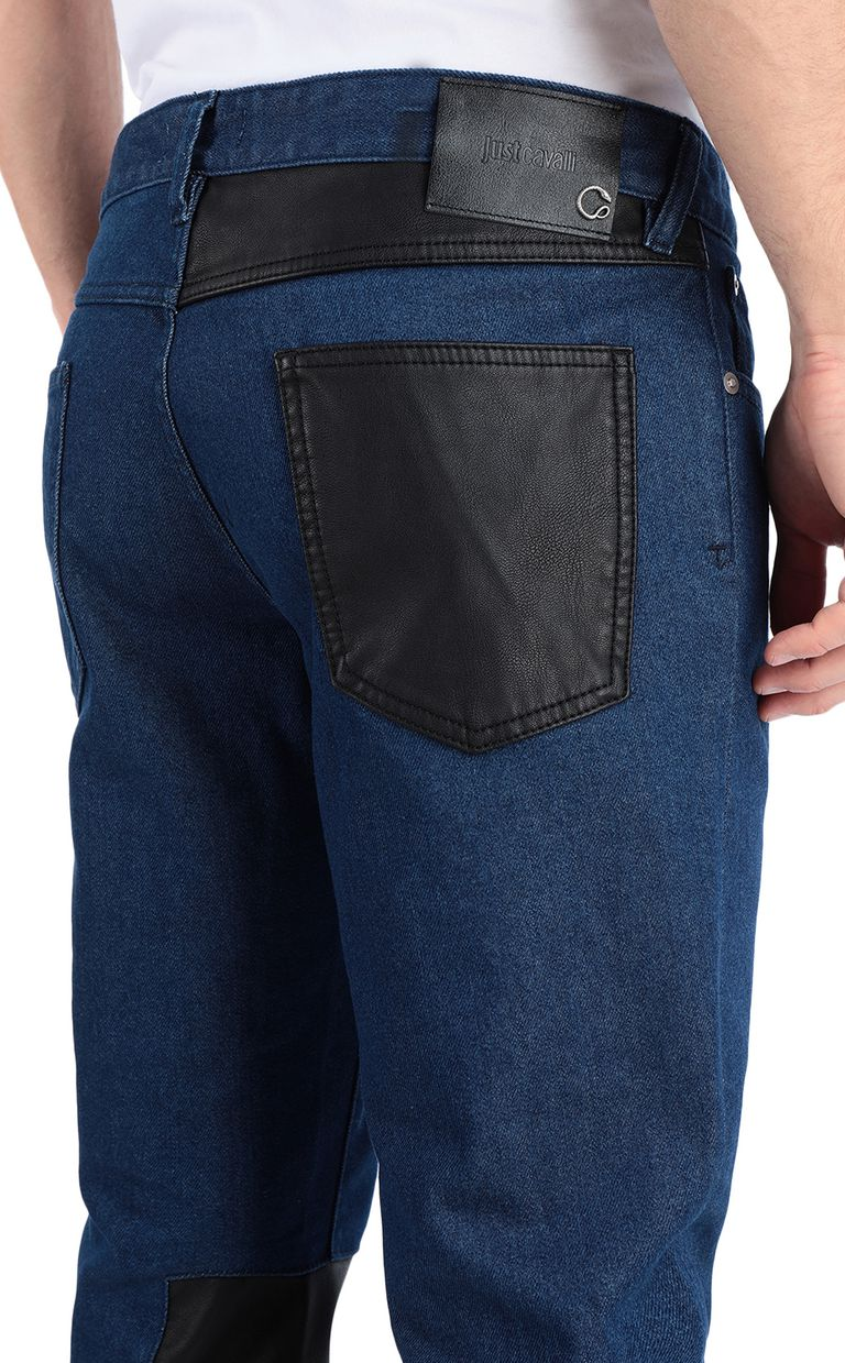 JUST CAVALLI Just-Fit Jeans with leather details Jeans Man e