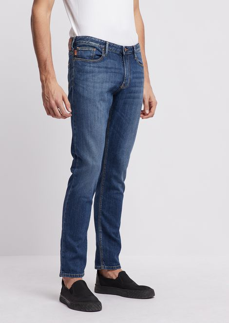 Slim-fit J10 10oz medium washed comfort denim jeans