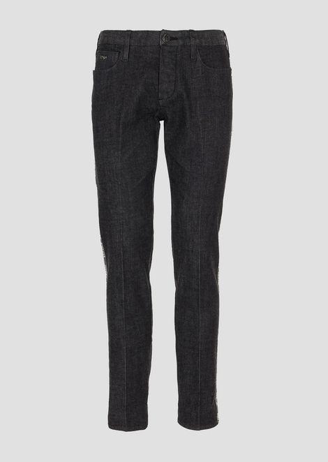 J00 slim fit stretch cotton denim jeans with selvedge logo