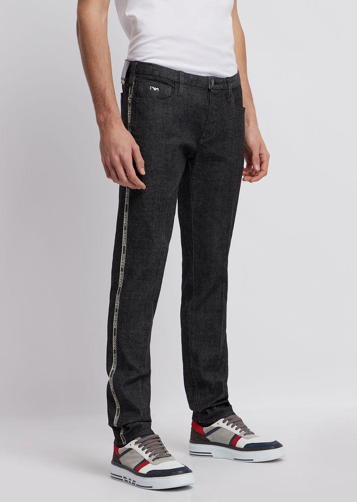 e0be90fedc J00 slim fit stretch cotton denim jeans with selvedge logo