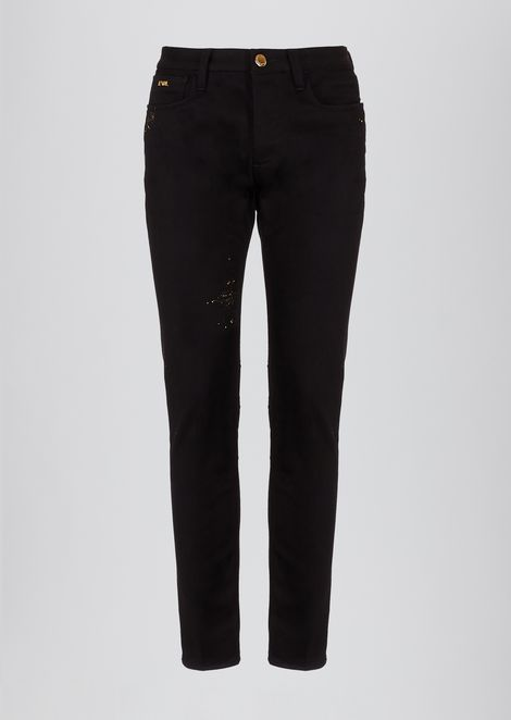 Slim-fit jeans in special stretch cotton denim with gold details