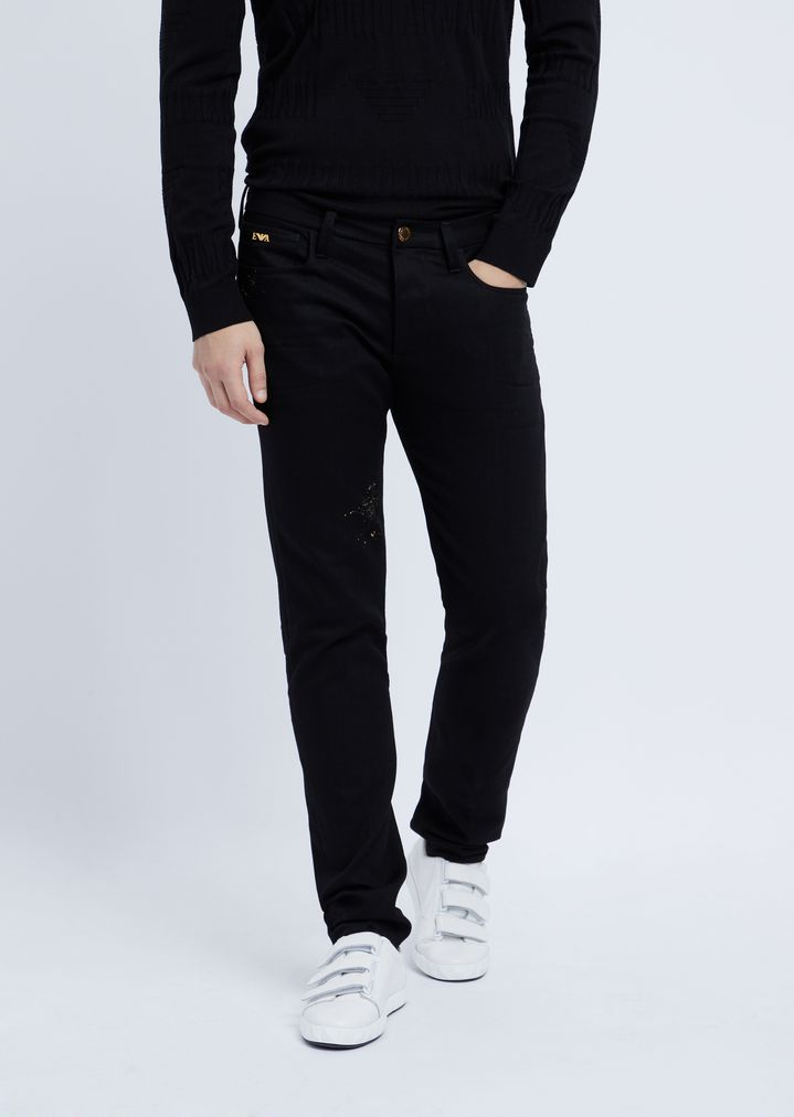 13aed47469 Slim-fit jeans in special stretch cotton denim with gold details