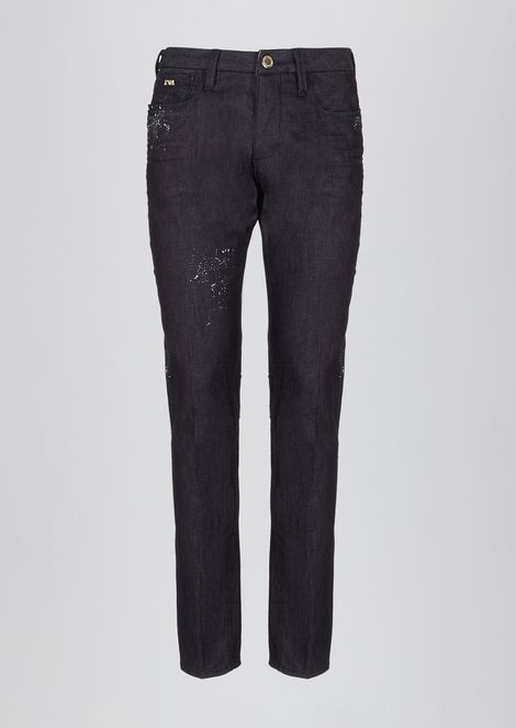Slim-fit jeans in special stretch cotton denim with splashes of color