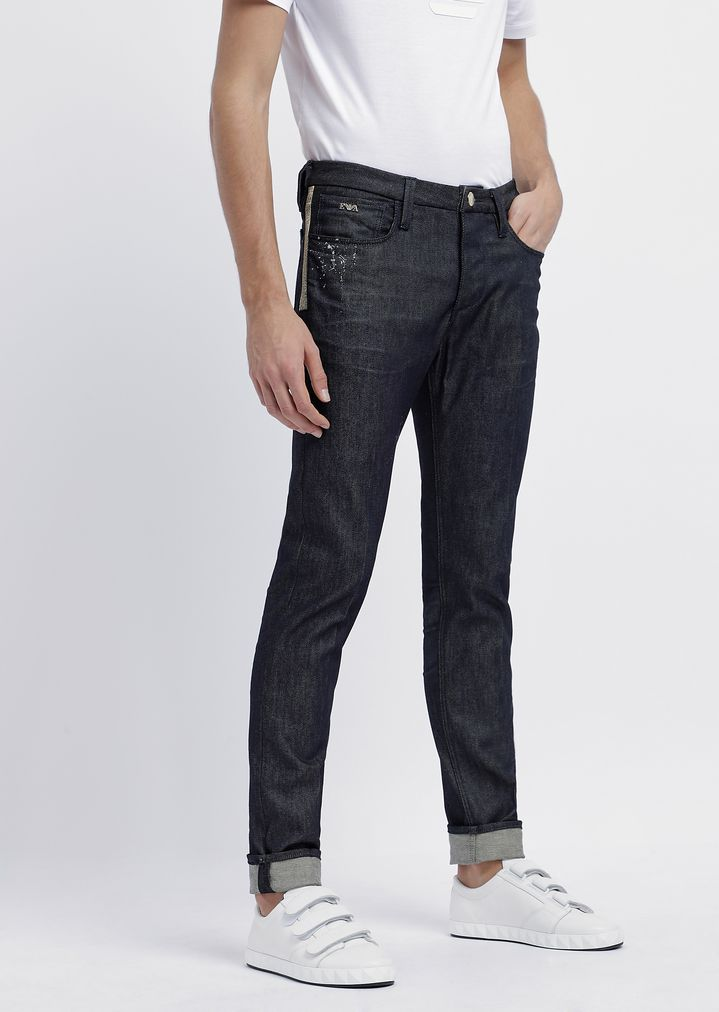 484eef356d Slim-fit jeans in special stretch cotton denim with splashes of color