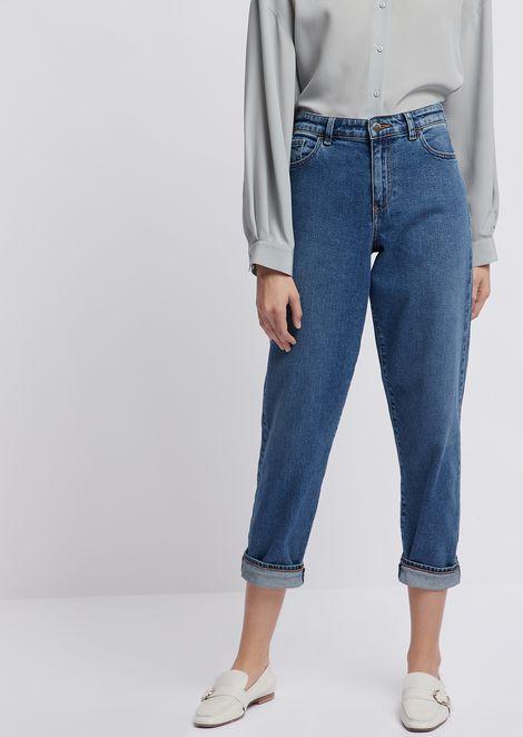 J90 mom fit jeans in comfort denim with vintage effect