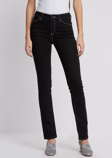 Super skinny J18 jeans in comfort denim with contrasting piping