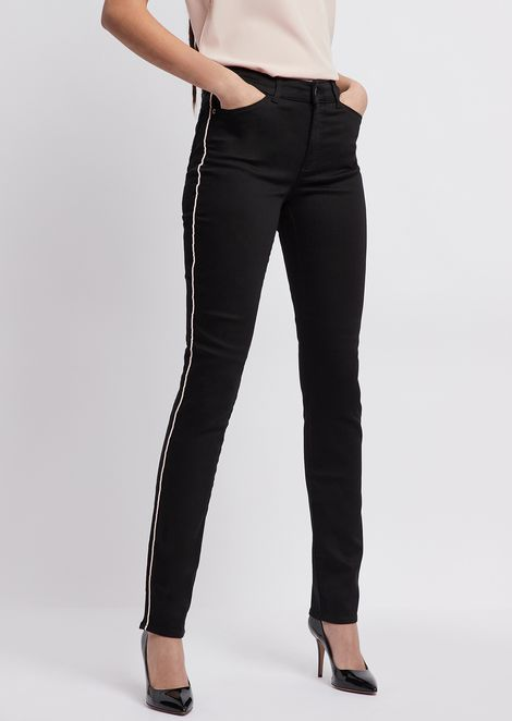 J18 super skinny jeans in stretch denim with contrasting piping