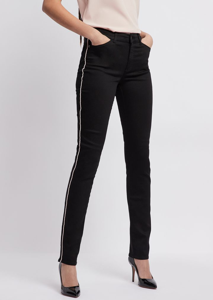 9f3ce7267b8 Super skinny J18 jeans in stretch denim with contrasting piping | Woman |  Emporio Armani