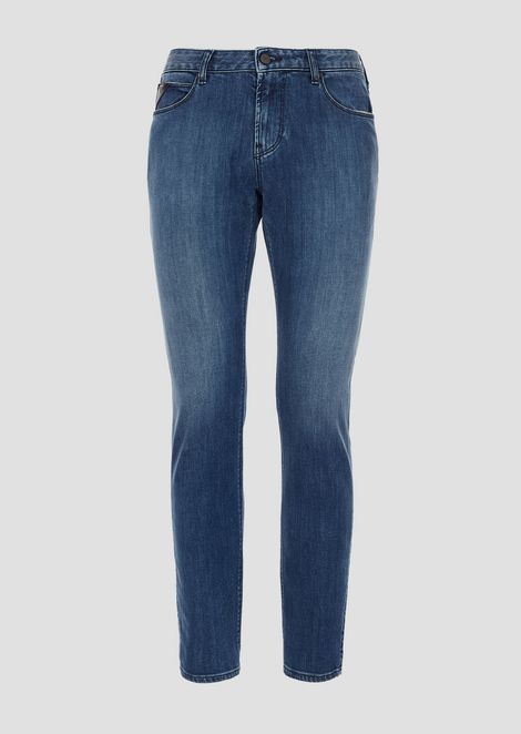 J36 cotton twill denim jeans with logoed scarf