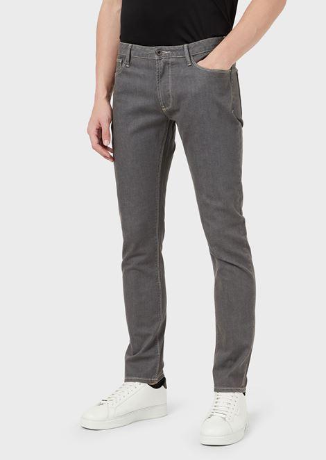 J06 slim fit stretch cotton denim jeans with selvedge logo