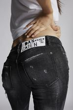 DSQUARED2 Black Runway Straight Cropped Jeans 5 pockets Woman