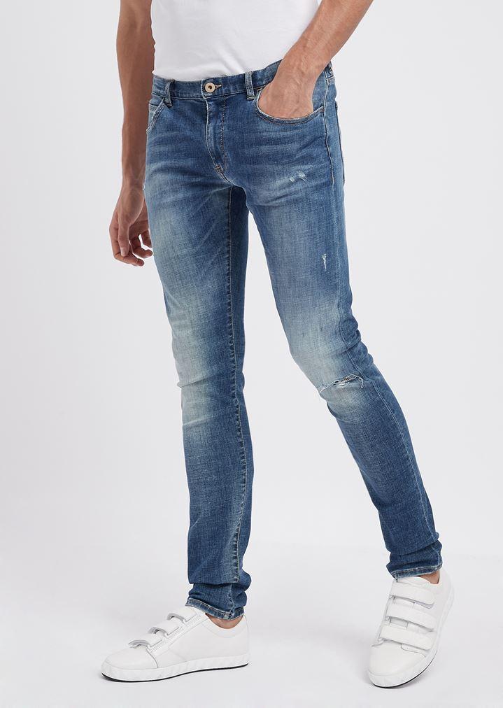 eb6cf03d64 Extra slim-fit J10 denim jeans in 10 oz cotton twill