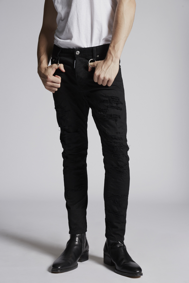 DSQUARED2 Solid Colored Rip Tidy Biker Jeans 5 pockets Man