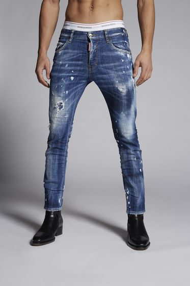 Faded Patches Skater Jeans. Colore Blu. EUR 465. DSQUARED2 5 pockets Uomo  S78LB0004S30309470 m 40b8dfd22d15