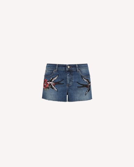 Tattoo embroidered denim shorts