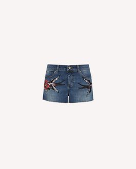 REDValentino Tattoo embroidered denim shorts