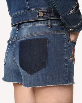 REDValentino 刺青图案刺绣牛仔短裤