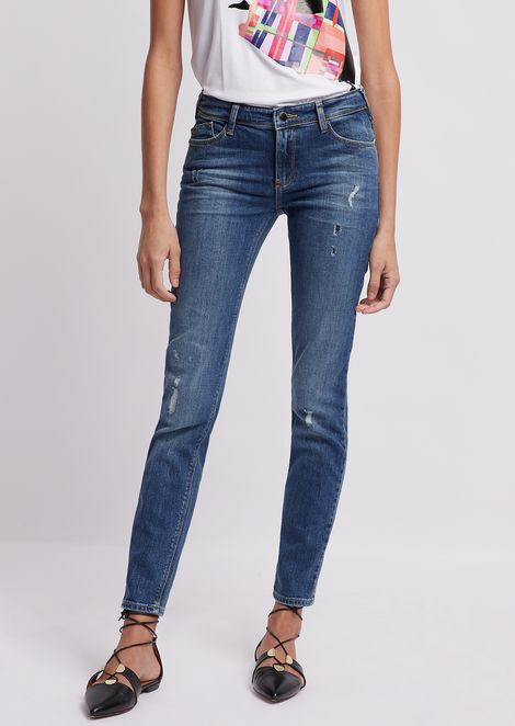 Regular-fit J28 jeans in vintage-effect denim with decorative rips