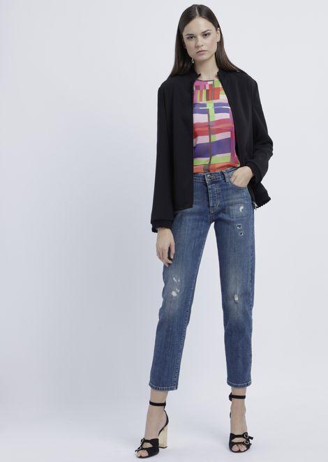Regular-fit J04 jeans in vintage-effect, distressed denim