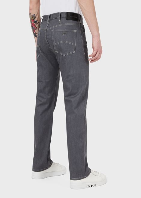 Regular-fit J21 jeans in stretch cotton denim