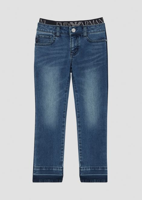 Stretch cotton denim jeans with elasticated logo waistband